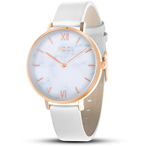 MDC Womens Ladies Leather Wrist Watch Minimalist Analog White Watches for Women Marble Women's Female Woman Lady Fashion Couple Classic Nice Simple Casual Unique Designer Quartz Thin Wristwatch