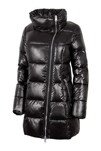 N722 dames winterjas in dons-look snowimage met verborgen capuchon zwart