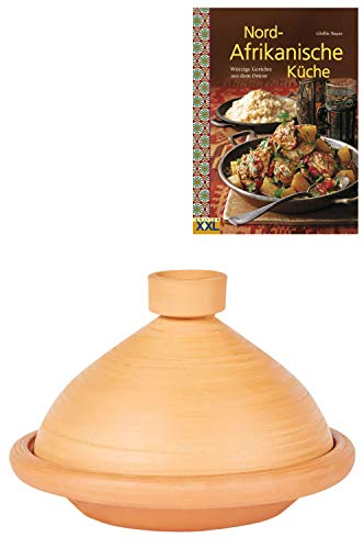 Marokkanische Tajine Topf zum Kochen + Kochbuch | Schmortopf Unglasiert Tuareg Ø 31cm für 3 - 5 Personen | inklusive Rezepte Buch Nord Afrikanische Küche | ORIGINAL Tontopf handgetöpfert aus Marokko