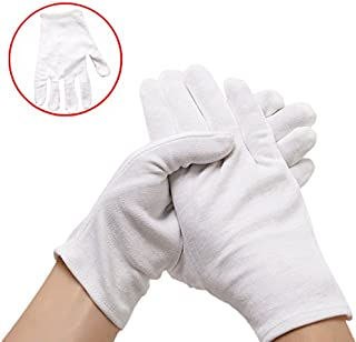 White Gloves, Neworkg 12 Pairs Soft Cotton Gloves, Coin Jewelry Silver Inspection Gloves, Stretchable Lining Glove, Large Size