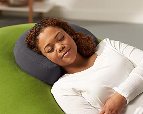 Yogibo Moon Pillow - Comfortable w/ Patented Fibead Filling - Removable Machine Washable Cotton & Spandex Cover - Amazing Neck & Back Support - Soft Cotton/Spandex Cover