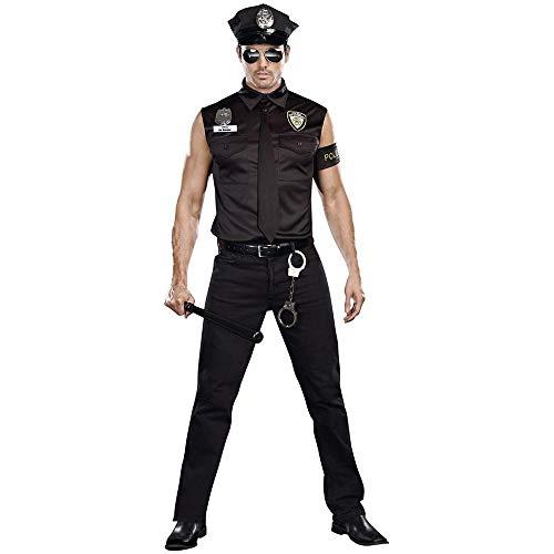 Dreamgirl Men's Dirt Cop Officer Ed Banger Costume, Black, X-Large