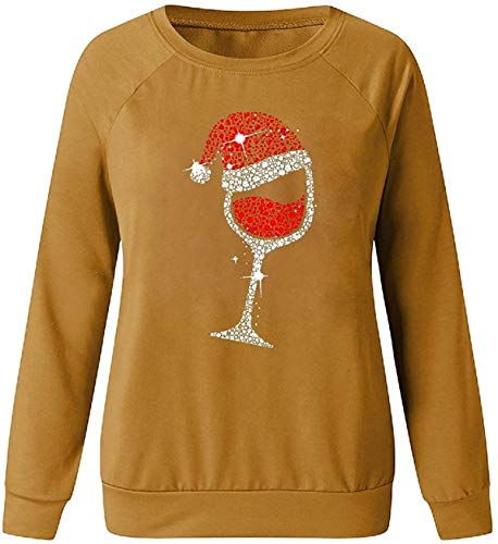 Skxusidhus Women's Loose Long Sleeve Christmas Hat Sweatshirt Round Neck Pullover Tops