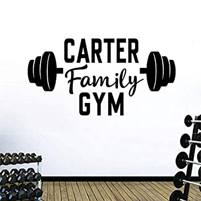 Personalized Custom Family Name Business Center Gym Wall Decal Sticker Customized Choose Size Color Vinyl Fitness Workout Personal Training Barbell