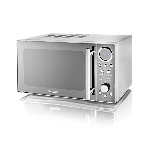 Swan SM3080N Digital Solo Microwave with 10 Power Levels, 800 Watt, 20 Litre, Silver