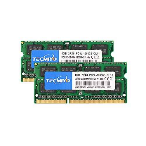 TECMIYO 8GB Kit (2x4GB) PC3L 12800s sodimm DDR3 / DDR3L 1600MHz CL11 PC3-12800 SODIMM1.35V/1.5V 204Pin Non-ECC Unbuffered Laptop Memory Ram Module for Mac, Intel, AMD System