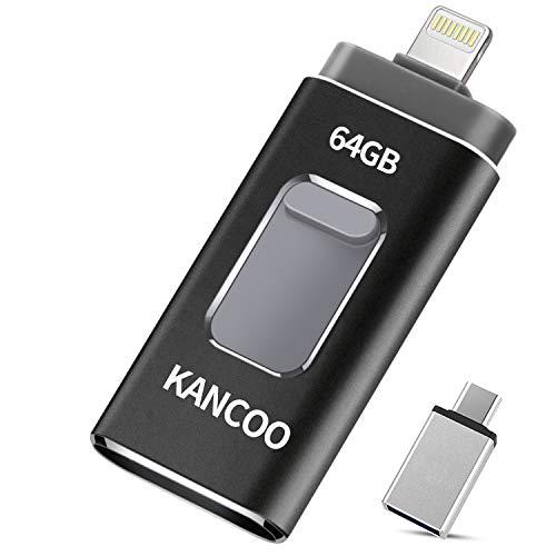Clé USB 3.0 64 Go Compatible pour iPhone Flash Drive 4 in 1 avec Connecteur Extension de Stockage Mémoire Stick pour iOS iPad OTG Andriod Appareils et Mac PC Ordinateur KANCOO - Noir