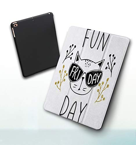 Funda para iPad 9,7 Pulgadas, 2018/2017 Modelo, 6ª / 5ª generación,Bigote Lindo Moda Gafas Bigote Elegante Pequeños Animales Fauna Silvestre Smart Leather Stand Cover with Auto Wake/Sleep