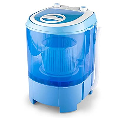 oneConcept SG003 - Camping Washer, Mini-Washer, Spin Dryer, Energy-Saving Toploader, 2.8 kg Capacity, 180 W, for Singles and Student households, Low Noise, Carrying Handle, economical, Blue