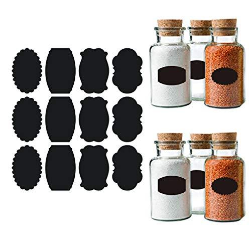 黒板ラベル 黒板シート ラベルステッカー 調味料 ボトルステッカー 防水 粘着シート 剥がしやすい 消しやすい 多種類 可愛い 取り外し可能 黒 156枚 ガラス カップ ボトル 自宅 キッチン オフィス
