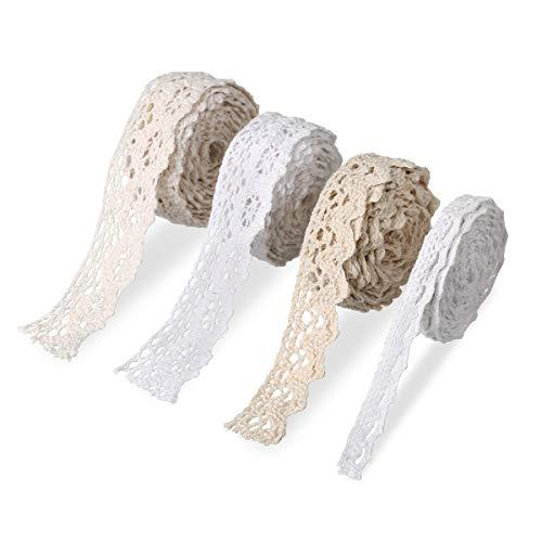 Vintage Lace Ribbon White 40 Metri Cotton Beige Lace Ribbon Nastro Decorativo Pizzo Decorativo Tessuto Lace Trim Vintage Lace Trim Crochet Trim per Crafting Sewing Wedding Decorating