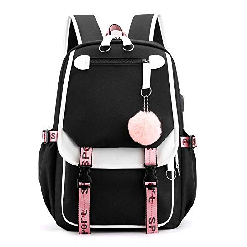 N\ A Large Capacity Backpack Teenagers Lightweight School Bag Women USB Charging Port Travel Shoulder Bags Girls Student Rucksack with Security Lock Black