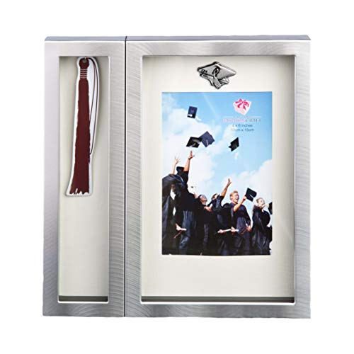 FASHIONCRAFT 12500 Graduation Tassel Picture Frame, Silver