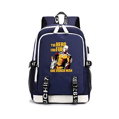 One Punch Man Casual Backpack Explosion Vintage Casual Canvas Backpack Travel Rucksack Satchel Backpack Camping Backpack for Men Unisex (Color : Dark Blue03, Size : 30 X 15 X 43cm)