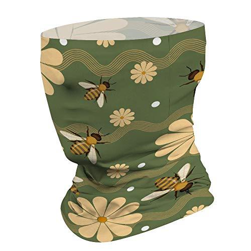 Bijen tuin met bloem multifunctionele gezichtsmasker Bandana hals Gaiter Hoofdband Zon Masker Gezicht Sjaal Balaclava, Voor Outdoor Sport,Voor Vrouwen Mannen