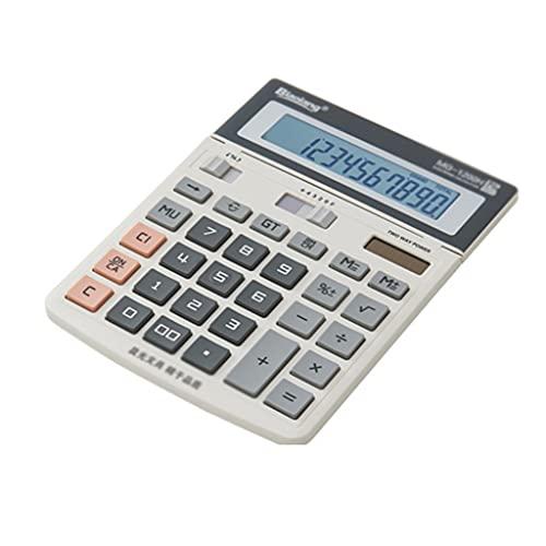 Calculadora financiera con calculadora de plástico de Potencia Dual de Pantalla Ajustable con Pantalla LED de 12 dígitos para la Oficina básica Diaria (Color : Natural)