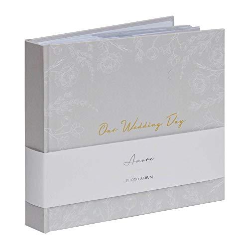 'Our Wedding Day' - Album fotografico con motivo floreale, 50 pagine, colore: Grigio