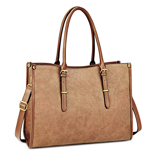 Laptop Bags for Womens Ladies Handbags 15.6 Inch Large Shoulder Tote Bag Leather Laptops Briefcase for Office School Travel Work Business Light Brown