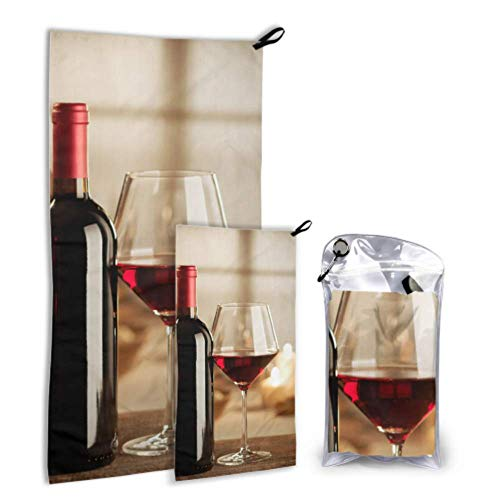 Bottle Wine and Grape On Table 2 Pack Microfiber Kid Beach Accessories Men Towel Beach Set Fast Drying Best for Gym Travel Backpacking Yoga Fitnes