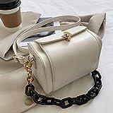 HKFG Bolso de Mujer con Cadena Bolso de Mano Cuadrado de Color sólido Bolso de diseñador de Mujer de Cuero PU Bolso de Hombro Vintage
