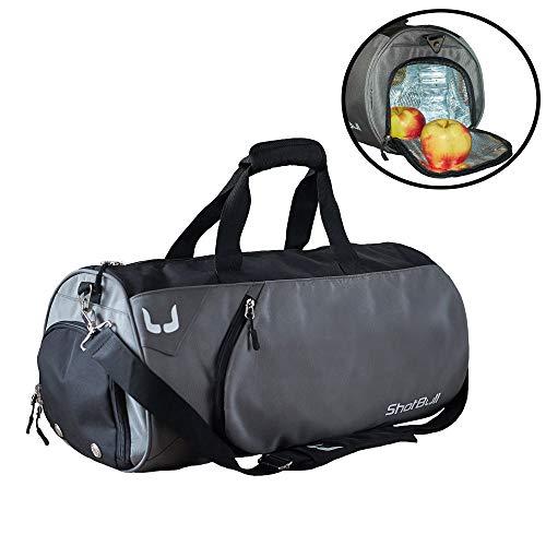 Shotbull Fitness Sporttasche Reisetasche Damen und Herren Leichte Wasserdichte Tasche mit Zubehör für Schuhe Kleidung Nasses Tuch, Sporttasche mit Schuhfach Kühlbox Isoliertasche (grau)