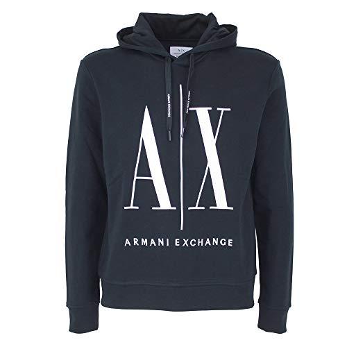 Armani Exchange Hoodie, Maxi Print Logo on Front Sudadera, Azul Marino, S para Hombre