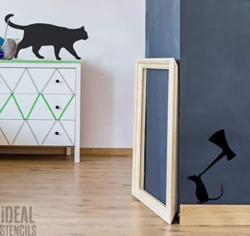 Katze & Maus mit Axt Schablone startseite-wand-dekor Wandfarbe Stoff und Möbel Innenraum aussen - halb transparent Schablone, Size 2 (Life size) See Images