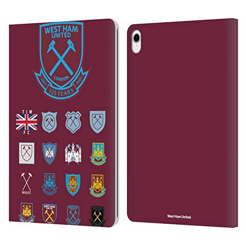 Head Case Designs Officially Licensed West Ham United FC Pattern 2 Crest History Leather Book Wallet Case Cover Compatible with Apple iPad Pro 11 (2018)