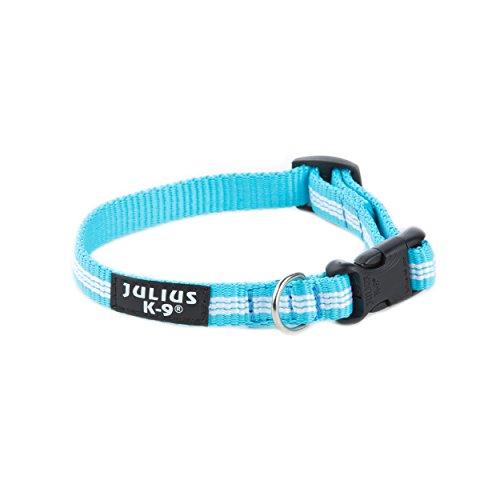 Julius-K9, 218HB-NL-AM, IDC Tubular Webbing Collar, 0.04 x 0.78-1.18', Aquamarine