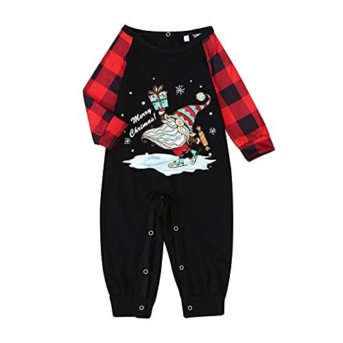Family Christmas Matching Pajama Sets Noveltly Funny Santa Plaid Jammies Clothes Long Sleeve Tee Tops Pants for Couples