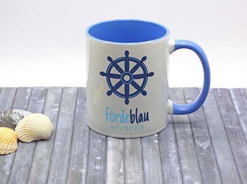 Fördeblau Kaffeebecher Kaffeetasse maritim Keramik Steuerrad bedruckt
