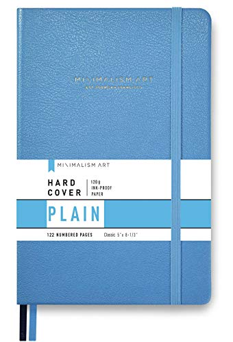 Minimalism Art, Premium Hard Cover Notebook Journal, Small Size, Classic 5 x 8.3, 122?Numbered?Pages, Gusseted?Pocket, Ribbon Bookmark, Extra Thick Ink-Proof?Paper?120gsm (Plain, Blue)