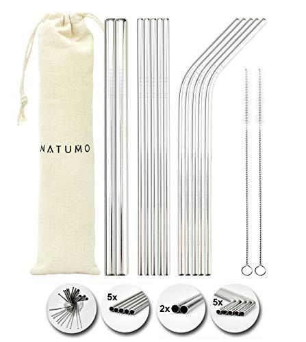 NATUMO ® Set di cannucce riutilizzabili in acciaio inox, 12 cannucce dritte e curve, con 2 spazzole e 1 sacchetto