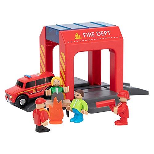 Foliner Feuerwehr-Station Feuerwehrwache Simulation Feuerwehr Spielzeug Garage Feuerwehr Feuerwehr Schienen...