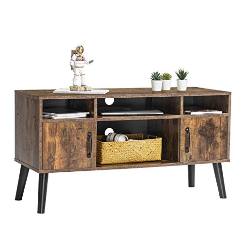 Snughome Retro TV Stand for TVs up to 55 Inch, TV Console Table with Storage Shelf, Mid Century Modern Entertainment Center for Flat Screen TV, Cable Box Gaming Console, in Living Room, Rustic Brown