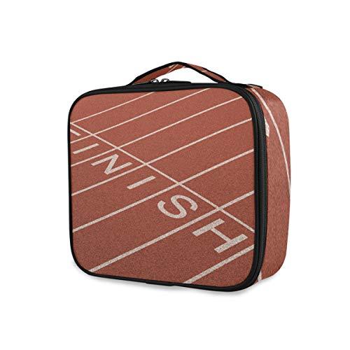 Trousse de toilette Outils de voyage Cosmetic Train Case Sac de maquillage de stockage portable Filles Sport Pattern Finish Line Track Field