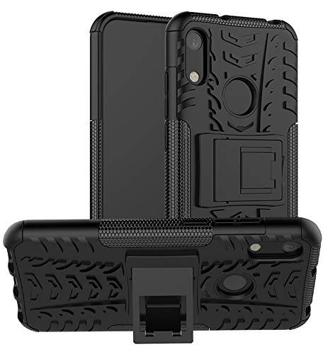 Yiakeng Hülle Huawei Y6 2019/Honor 8A Handyhülle, Doppelschicht Stoßfest Schlank Ganzkörperschutz Mit Ständer für Huawei Y6 2019 (Schwarz)