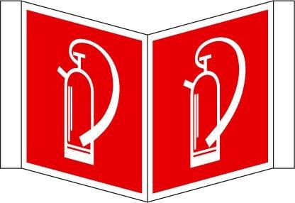 Feuerlöscher Schild Winkelschild (Nase) 20x20 cm Kunststoff nachleuchtend