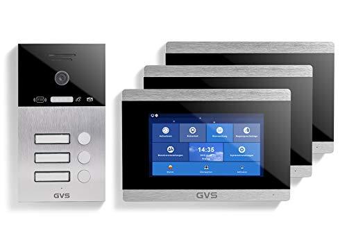 GVS IP Video Türsprechanlage, Unterputz-Türstation IP65 mit RFID, 3X 7 Zoll Monitor, Handy-App, HD-Kamera 120°, Türöffner-Funktion, 32GB, PoE-Switch, 3 Familienhaus Set, AVS4033U