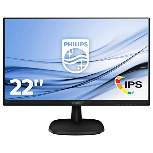 Philips 223V7QHAB Monitor 22 'LED IPS Full HD, 1920 x 1080, 5 ms, 3 lati senza cornice, Casse Audio integrato, Cornici Sottili, Flicker Free, HDMI, VGA, Attacco VESA, Nero