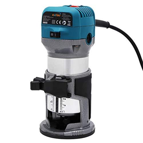 KATSU Fresadora de Madera Rebajadora Eléctrica 220V 710W + 3 Pinzas de 6mm, 8mm y...