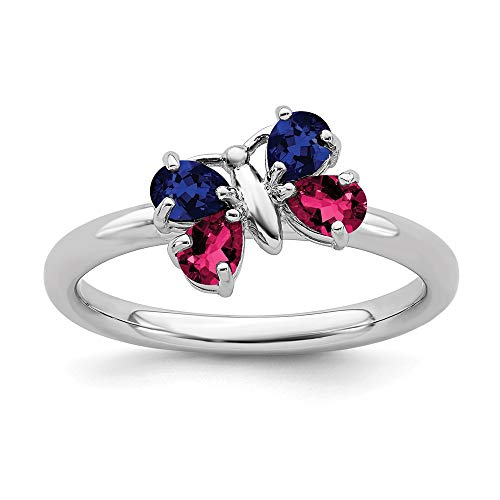 925 Sterling Silver Cr Red Ruby Sapphire Butterfly Band Ring Size 6.00 Stone Stackable Gemstone Birthstone July Created Fine Mothers Day Jewelry For Women Gifts For Her
