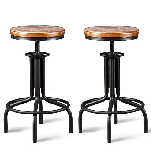 Topower American Antique Industrial Design Metal Adjustable Height Kitchen Dining Breakfast Chair Industrial Style Bar Stool Fully Welded 22-28 inch Set of 2 (Black, Wooden Top)