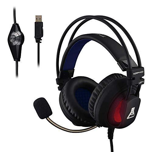 THE G-LAB - KORP 400 - Auriculares Gaming de Alto Rendimiento - Tecnología 7.1 Surround Sound - Retroiluminación RGB - Vibraciones - Compatible con PS4 & PC - Negro - Software