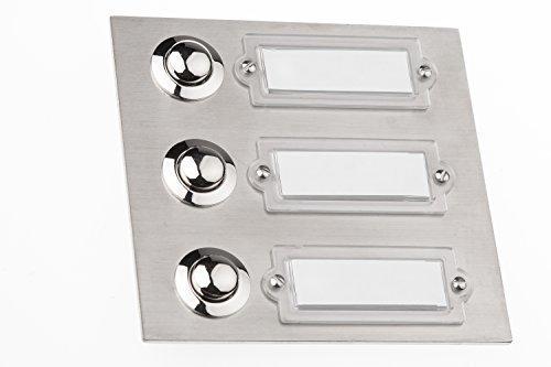 HUBER Klingeltaster Edelstahl 12508, 3-fach unter Putz, rechteckig, mit Namensschild