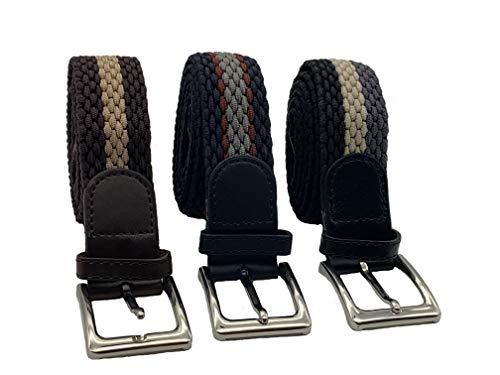 HW - Cinturón elástico multicolor (3 unidades, 110 cm de longitud total y 3,5 cm de ancho) Nuevo diseño que se adapta a casi todas las prendas.