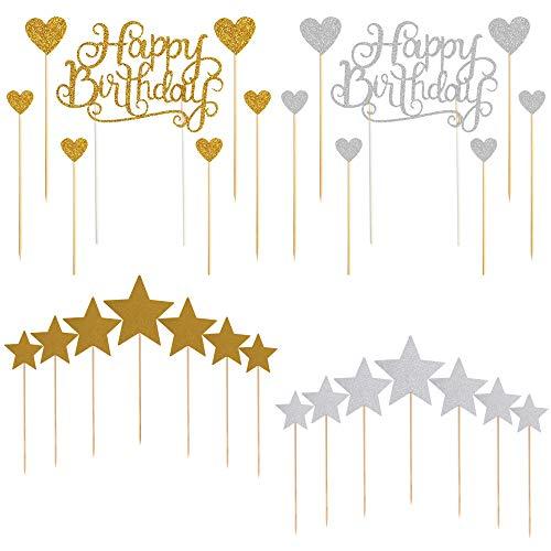 AILANDA Adorno de Pastel Happy Birthday Toppers de Cumpleaños Cupcake Toppers para...