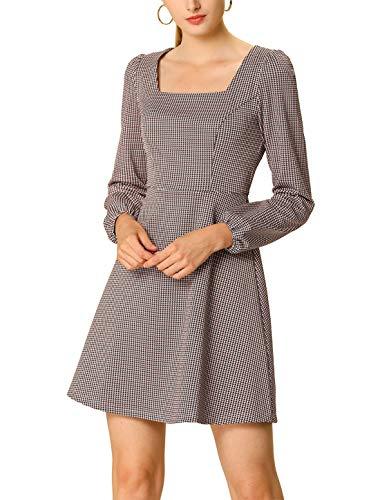 Allegra K Mini Vestido A Cuadros Vintage Cuello Cuadrado De Otoño para Mujer Rosa L