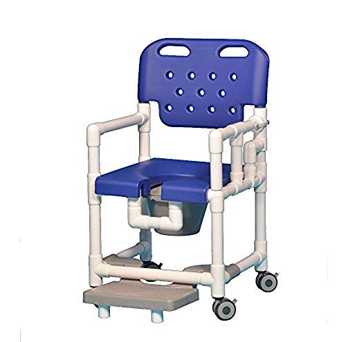 IPU ELT817 P FRLDA Elite Shower Chair Commode with Footrest and Left Drop Arm for use Over existing Toilet, Bedside, and in The Shower (Blue)