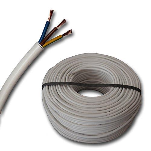 Kunststoff Schlauchleitung rund Kabel Leitung Gerätekabel H05VV-F 3x1,5 mm² 3G1,5 (mm2) - Farbe: weiß 5m/10m/15m/20m/25m/30m/35m/40m/45m/50m/55m/60m usw. bis 100 m in 5 Meter Schritten frei wählbar